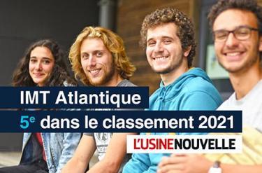 Le classement 2021 des écoles d'ingénieurs de L'Usine Nouvelle vient d'être publié : 5ème place pour IMT Atlantique !
