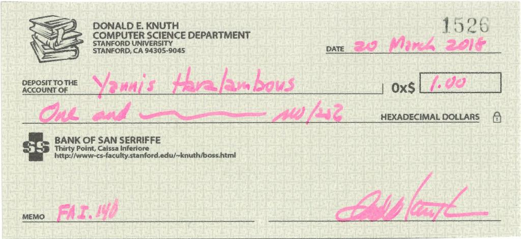 Cheque of one hexadecimal dollar by Donald Knuth